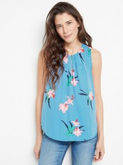 Sleeveless Blouse with Stripes and Flowers  Pink