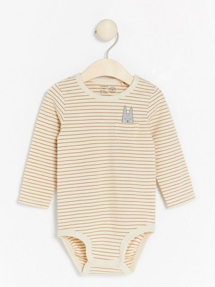 Striped long sleeve bodysuit with print Brown