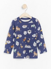 Long sleeve top with animal pattern Blue