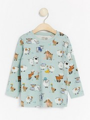Long sleeve top with animal pattern Aqua