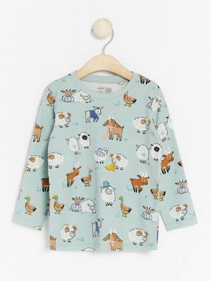 Long sleeve top with animal pattern Aqua
