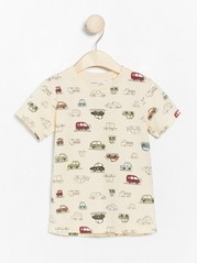 Short sleeve t-shirt with cars Beige