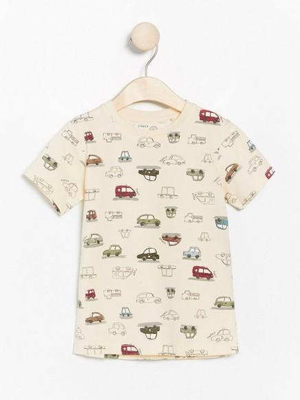Kortermet T-skjorte med biler Beige