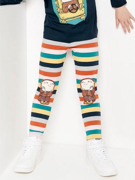 Stripete leggings med Albert Åberg-trykk og børstet innside Grå