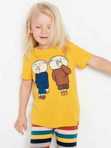 Gul T-skjorte med Albert Åberg-trykk Gul