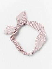 Rutigt hårband med rosett  Rosa