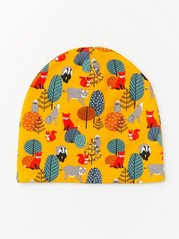 Jersey cap with forest print and fleece lining Yellow