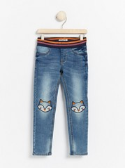 Slim fit pull-on jersey jeans with fox knee embroidery Blue