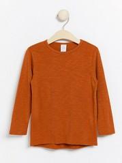 Long sleeve top in slub jersey Orange