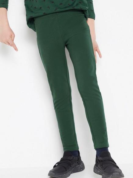 Mørkegrønn leggings med børstet innside Grønn