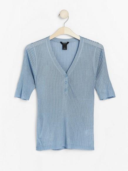 Kortermet, ribbestrikket genser Blå