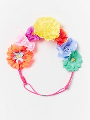 Headband with multicolour flowers Pink
