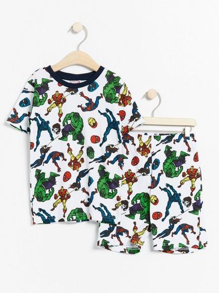 Pyjamas med Marvel-trykk Hvit