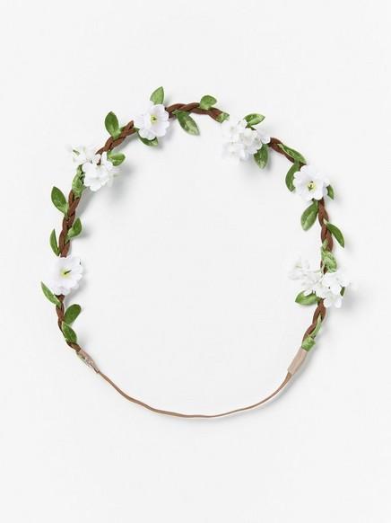Hiuspanta kukkakoristeella Valkoinen