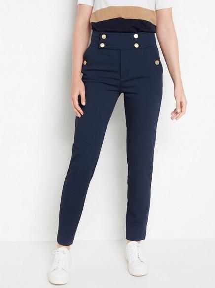 POLLY marineblå bukse med høyt liv Blå
