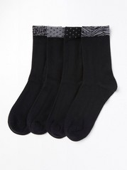 4-pakning med sokker med dekorerte mansjetter Svart