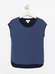 Short sleeve top with woven front  Blue