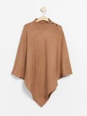 Knitted poncho with buttons  Brown