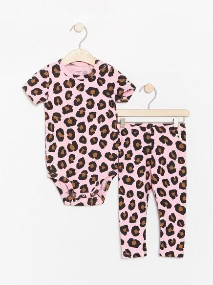 Leopardikuvioitu body ja leggingsit Vaaleanpunainen
