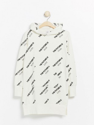 Long white hooded sweatshirt with text print White