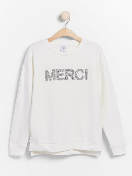 Sweatshirt with text and brushed inside White