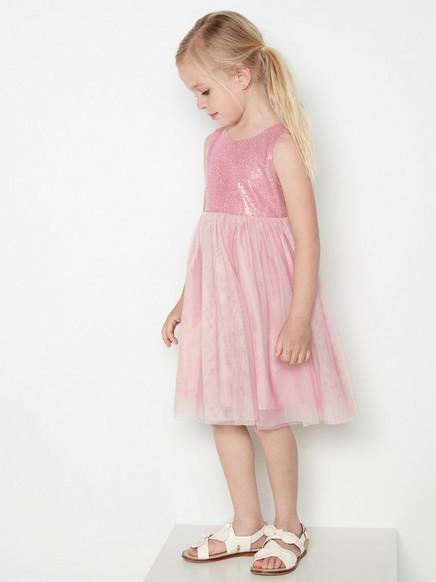 Růžové tylové šaty sflitry Růžová