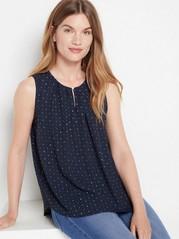 Ermeløs, mønstret bluse Blå
