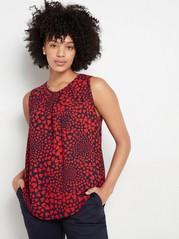 Ermeløs, mønstret bluse Rød