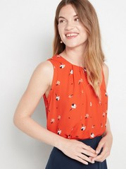 Sleeveless patterned blouse  Orange