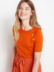 Short sleeve knitted jumper  Orange