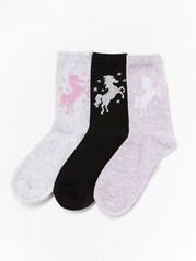 3-pack socks with glittery unicorns Black