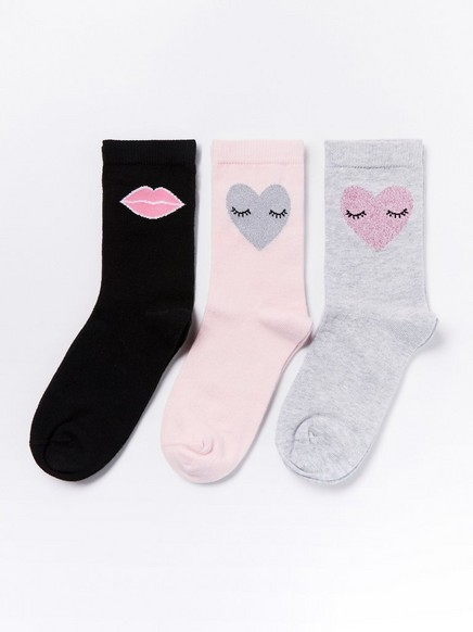 3-pakning med sokker Rosa