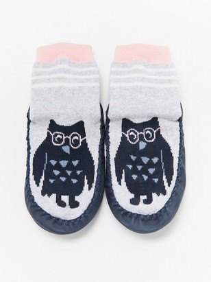 Moccasins with owls Grey