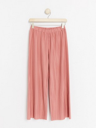 Wide pleated jersey trousers Pink