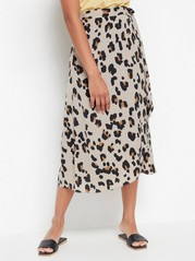 Beige leo patterned wrap skirt  Brown