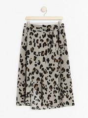 Zavinovací sukně sleopardím vzorem Hnědá