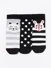 3-pack patterned antislip socks Black