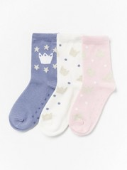 3-pack antislip socks with glitter Pink