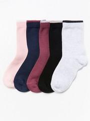 5-pakning med sokker Rosa