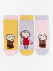 3-pakning med sokker med antiskli og Albert Åberg-motiv Rosa