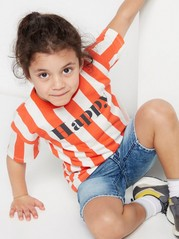 Striped Oversize T-shirt with Print Orange