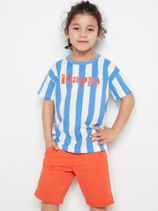 Striped Oversize T-shirt with Print Blue