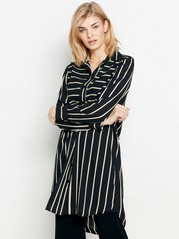 Patterned long sleeve dress  Black