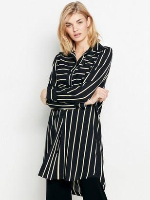 Vzorované šaty sdlouhým rukávem Černá