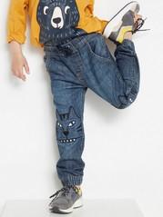 Løstsittende jeans med ekstra slitesterke knær Blå