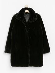 Black fake fur coat  Black