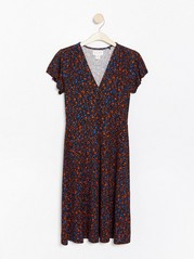 Patterned dress in lyocell blend  Blue