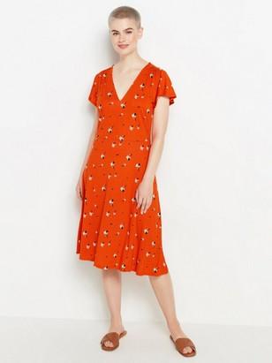 Kuvioitu mekko lyocell-sekoitetta Oranssi