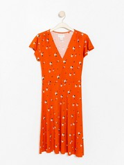 Patterned dress in lyocell blend  Orange