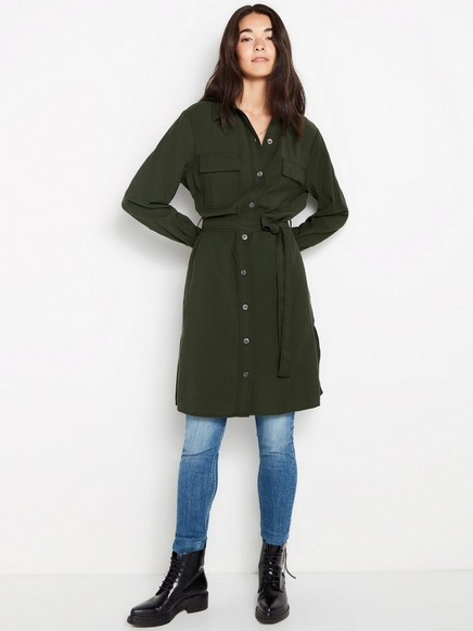 Grønn kjole med knytebelte Grønn